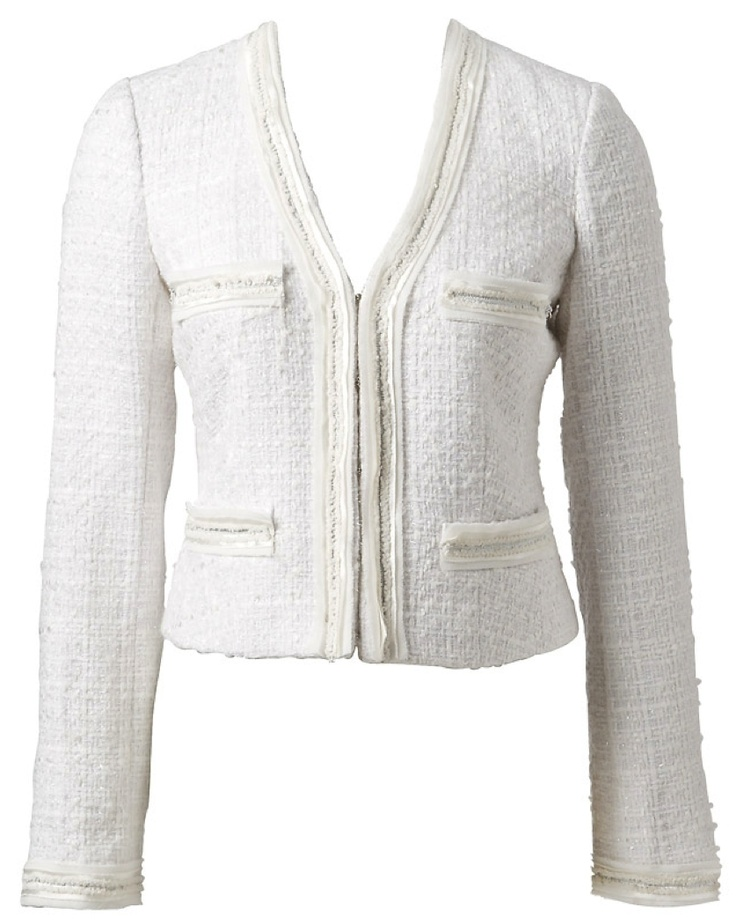 Chanel Jacket. - Probably hooks & eyes closure, but why not a zipper for a modern twist?