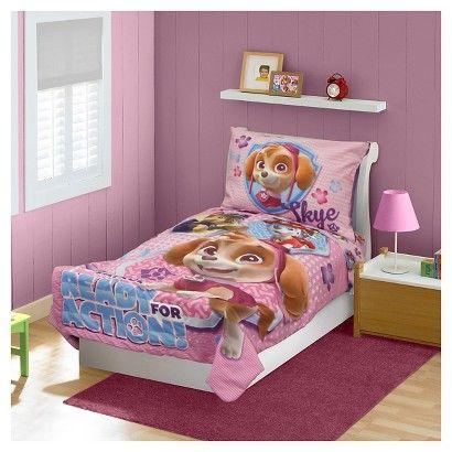 Paw Patrol Skye 4 Pc Toddler Bed Set - Pink