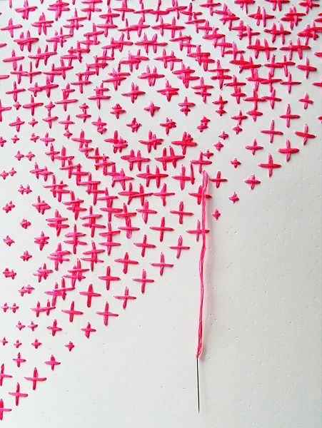 Morfema: Colors Patterns, Embroidery Crosses Stitches, Diy Art, Pink Crosses, Pink Embroidery, Fun Morfema, Crosses Stitches Art, Cool Ideas, Embroidery Art