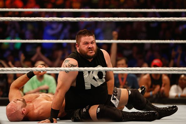 Kevin Owens and Cesaro battle it out at the WWE SummerSlam 2015 at Barclays Center of Brooklyn on August 23 2015 in New York City