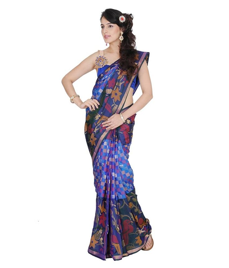 Kamal Enterprises Blue Katan Silk Saree