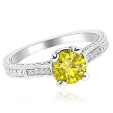 Canary Yellow Diamond Engagement Ring Vintage Style