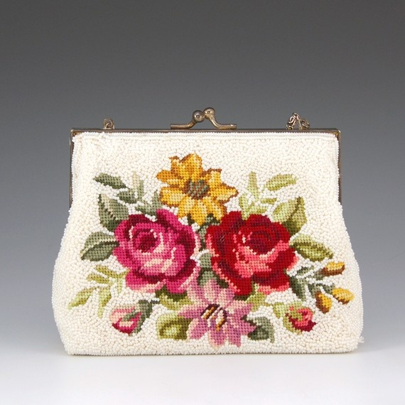 Beaded Needlepoint Bag Purse White Roses Red Pink by NewToVous, $49.99