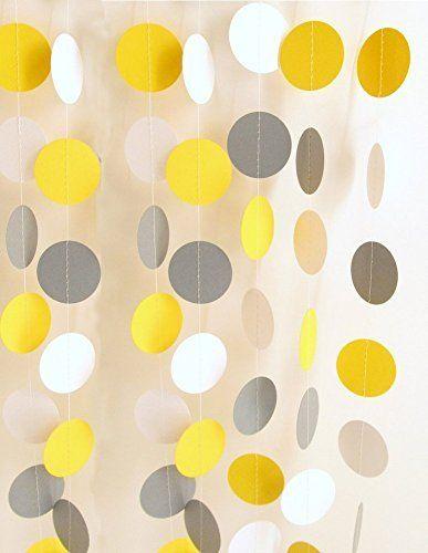 AllHeartDesires 1 String 10 Feet Yellow Gray White Circle Paper Garland Wedding Birthday Baby Shower Party Hanging Decorations, http://www.amazon.com/dp/B0144BO5HY/ref=cm_sw_r_pi_awdm_YDF6wb180P6BV
