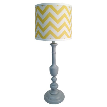 Grey and yellow chevron lamp- buy chevron shade (saw at target) and spray paint thrifted lamp base. Perfection :)