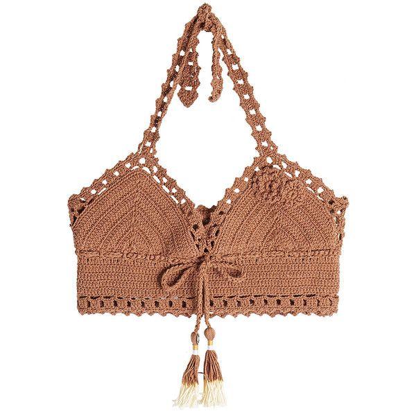 She Made Me Crochet Bikini Top ($105) ❤ liked on Polyvore featuring swimwear, bikinis, bikini tops, brown, triangle bikinis, brown bikini top, crochet bikini, brown bikini and halter bikini tops