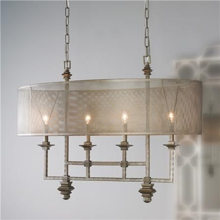 """Mesh Screen Shade Chandelier,oval shade of metal mesh diffuses the light - over scaled chandelier. - edgy architectural - 4x60 watt candelabra lamps required. (26.75""""Hx34.5""""Wx20""""D) Canopy dimensions: 24""""L x 4-7/16""""W Supplied with 10' of chain.!!"""