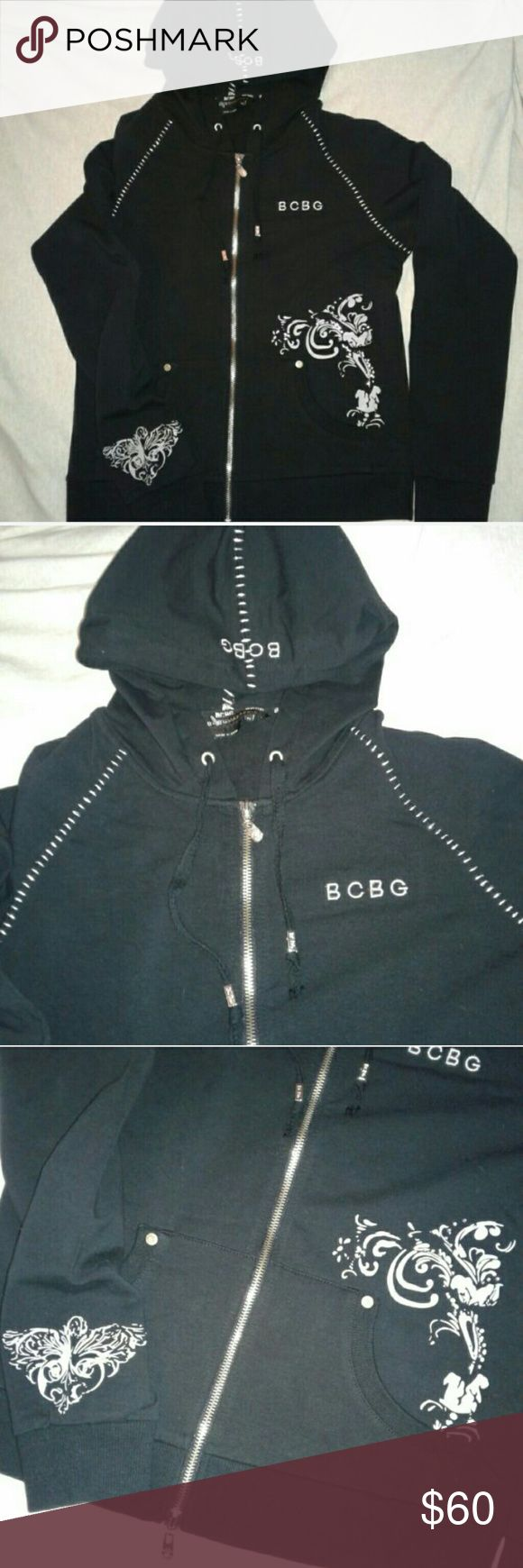 BCBGMAXAZRIA Women's Hoodie M BCBGMAXAZRIA Women's Hoodie New without Tag Never Worn....Size Medium, black in color with white design detail and rhinestone all stones are there... Original Price $140.00 BCBGMaxAzria Tops Sweatshirts & Hoodies