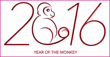 Chinese new year 2016 RED MONKEY. New year lucky color to wear, greetings, wishes, cards, eve, sms, wallpaper, dresses, recipes, menu, toasts, songs, jokes