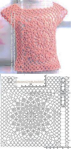 Pink Lace Motif Top free crochet graph pattern