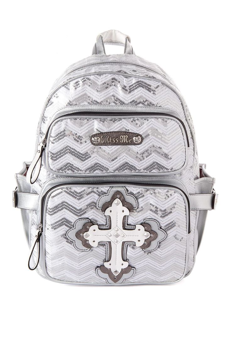 Annie Sequin Backpack in White - Miss Me Jeans - The Original Embellished Denim