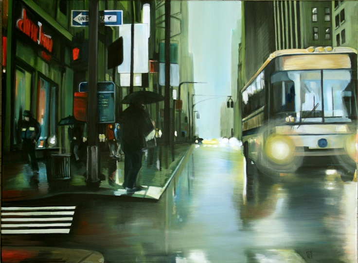 """""""New York Wet busz"""" by Shane Sutton. Oil. #art #painting"""