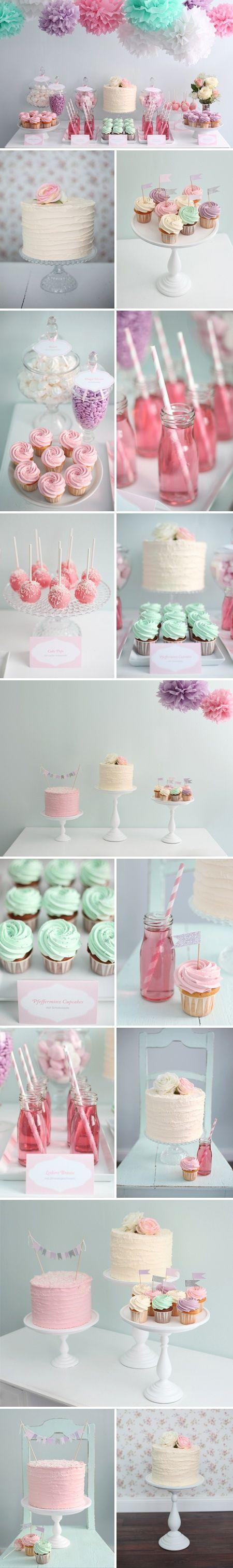 Mesa de postres en tonos pastel. Bautizo.