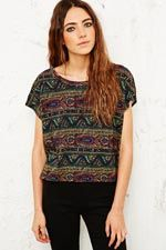 Truly Madly Deeply Paisley and Waves Tee in Green at Urban Outfitters