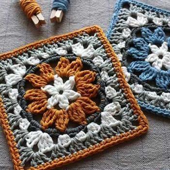 Cuadrado a crochet, circular en medio... Granny