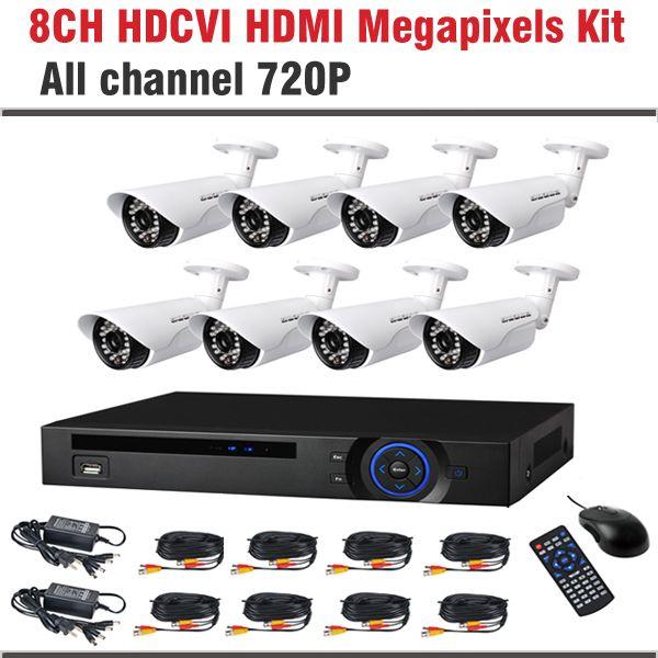 2017 New HDCVI System 720P 1.0MP HD IR Bullet Surveillance Security CCTV System 8 Channel CCTV Kit Security Camera System