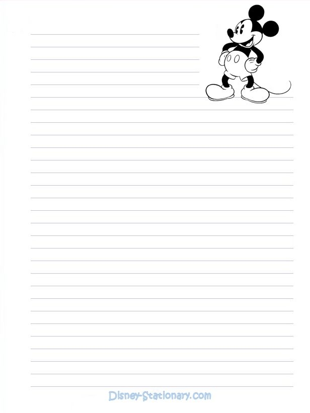 Printable Lined Paper Mickeymousebwstationary K Letterhead