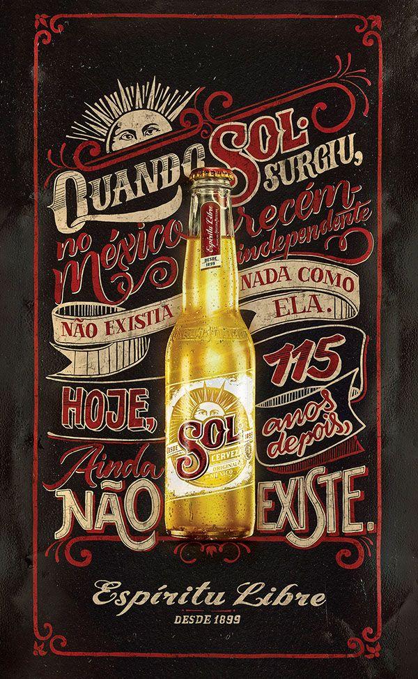 Cerveja SOL – Cartazes Inspiradores com Caligrafia e Giz | Abduzeedo Design Inspiration