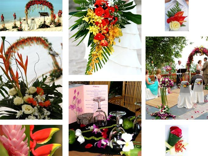 Bright, tropical flowers are a perfect theme for a beach wedding in Thailand