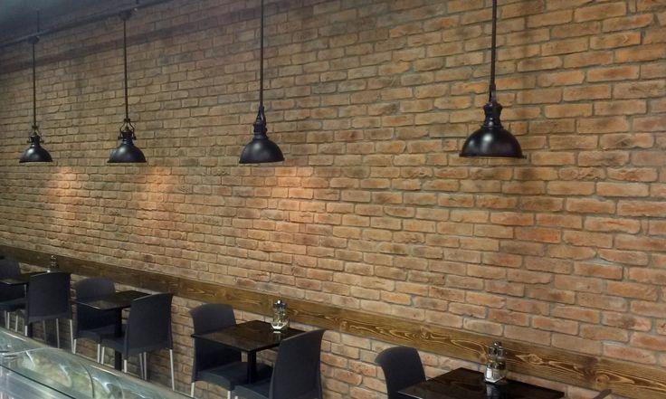 Cafe renovation using Smoked Peach brick slips