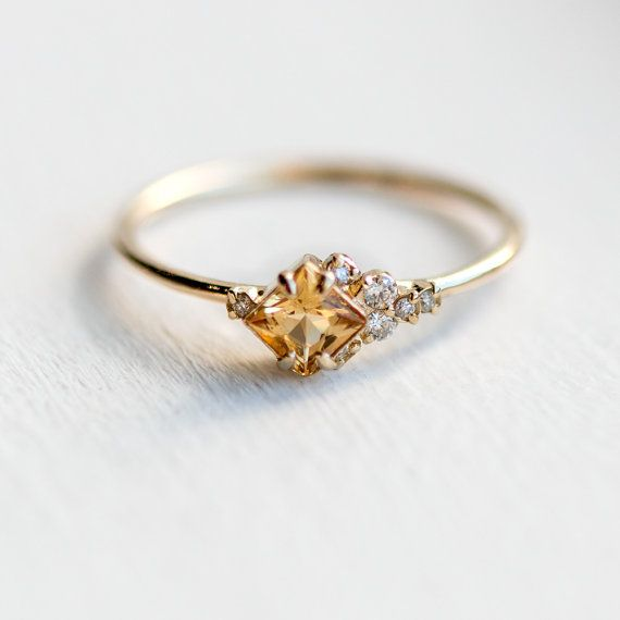 In the Sky with Topaz Ring / Asymmetrical Princess Cut Golden Topaz & Diamonds in Prongs / Topaz and Diamond Cluster Ring in 14k Yellow Gold