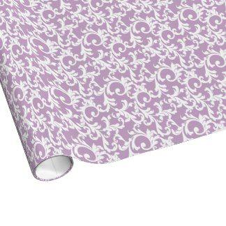 Lilac Elegant Damask Print Wrapping Paper