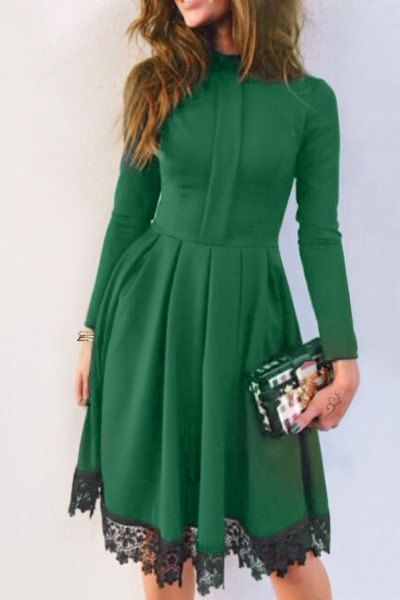 Lacework Splicing Stand Collar Long Sleeves Dress