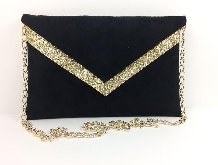 Sac Pochette de soirée mariage noire en suédine et paillettes dorées chaîne dorée : Sacs à main par fil-des-toiles