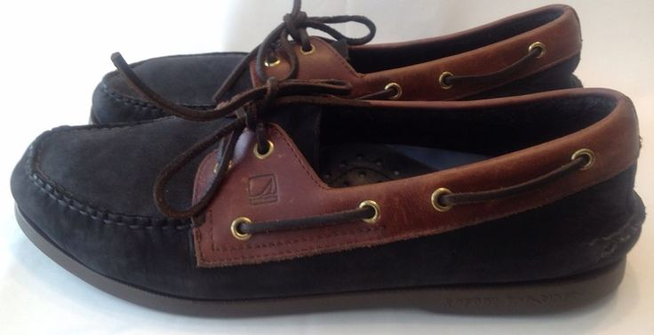 Sperry Top Sider leather Black Boat shoes Mens 12 M #SperryTopSider #BoatShoes