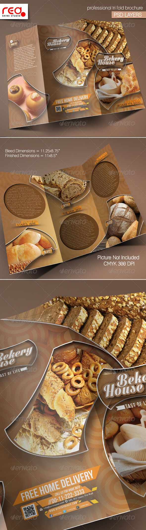 Bekery House Trifold Brochure Template - Corporate Brochures