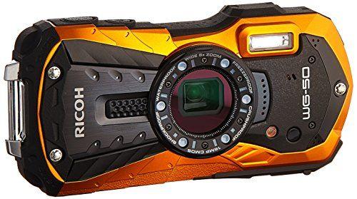 "Discounted Ricoh 16 Waterproof Still/Video Camera Digital with 2.7"" LCD, Orange (WG-50 orange)"