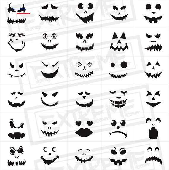 Dessin Visage Halloween.30 Halloween Pumpkin Face Stencils Pumpkin Carving Stencils Monster Faces Clipart Jack Creations D Halloween Idees Citrouilles Halloween Pochoirs Halloween