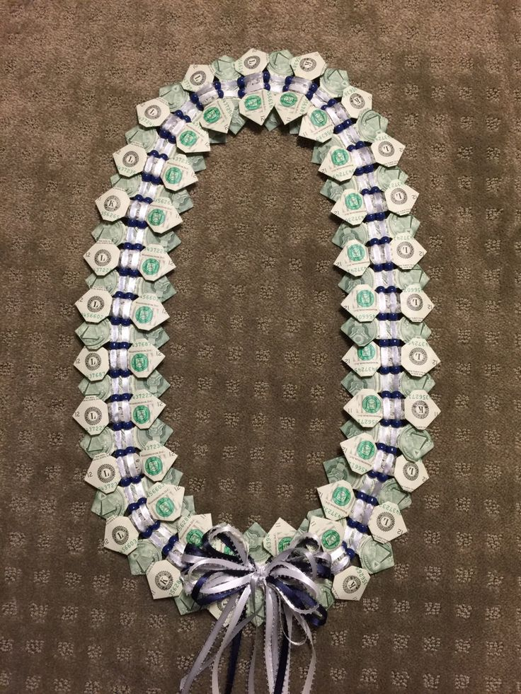Fifty Dollars Money Bowtie Lei with Beads for Graduation, Wedding, or Special Occasion – Handmade to