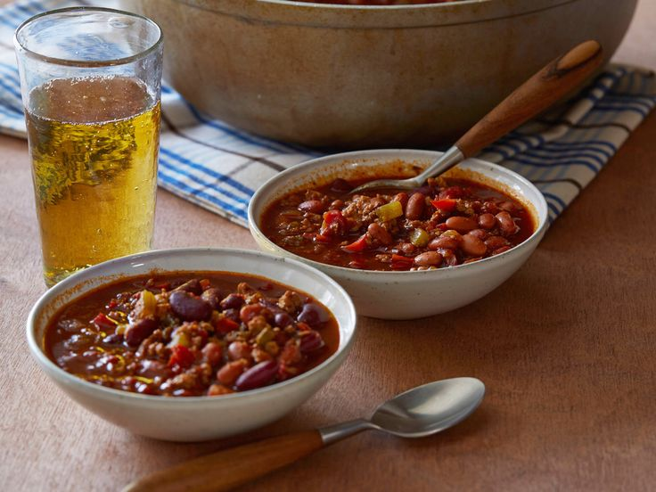 Game Time Chili #MyPlateFood Network, Chilis Recipe, Pinto Beans, Chili Recipes, Time Chilis, Games Time, Chicken Chilli, Cooking Channel, Bobby Deen