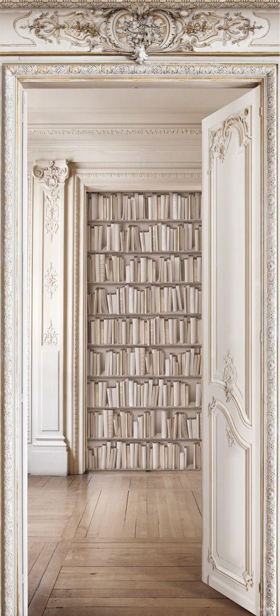 Rideau trompe l'oeil-Perspective / Bibliothèque boiseries Haussmanniennes  Koziel
