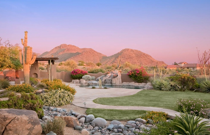 Lush Desert Landscaping With Great Mountain Views
