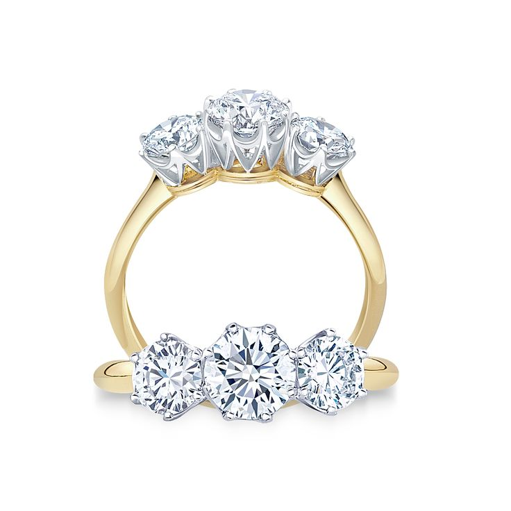 #PaulBram Trilogy Ring   Finely detailed three stone ring featuring three brilliant cut #diamonds in elegant crown settings   #engagement