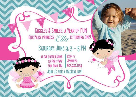 Fairy Birthday Party Invitation Printable Chevron Pink Teal - Fairy Wand First Birthday - Birthday Party Fairy Girl - Chevron via Etsy