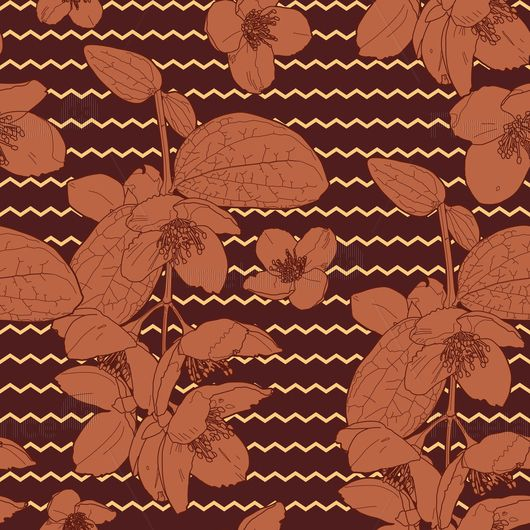 Japanese Floral Chocolate pattern Buy vector for $ 3 #pattern #vector #graphics #flora #design #freelancediscount