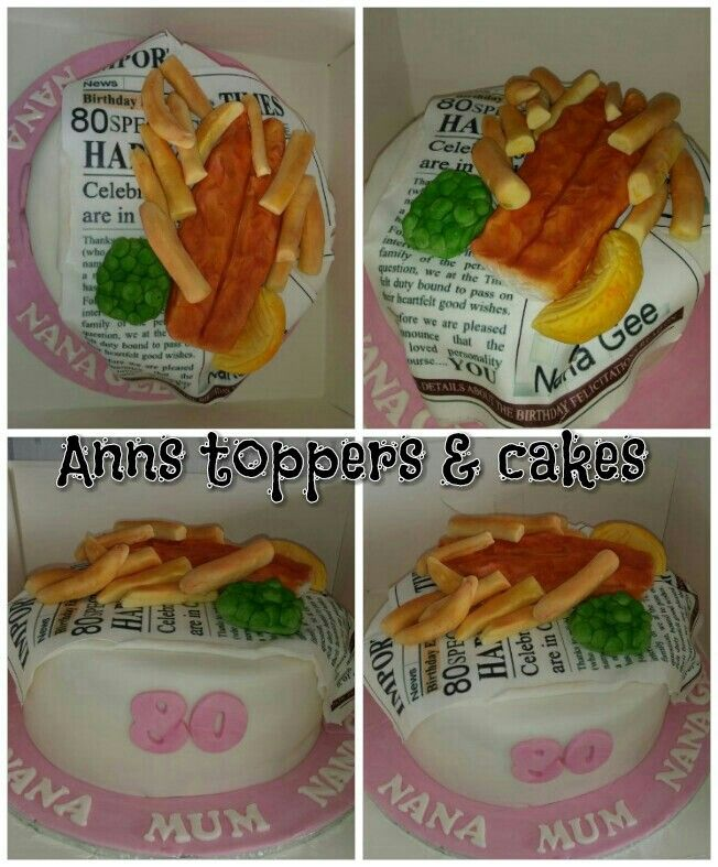 Fish and chips birthday cake