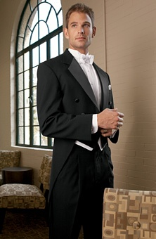 JOS. A. BANK  Style No. 582 Classic Notch Fulldress Tuxedo    Full dress tuxedo features six-button styling, a center vented tail, premium grade satin notch lapel and satin covered buttons. Includes black pleated formal trousers.