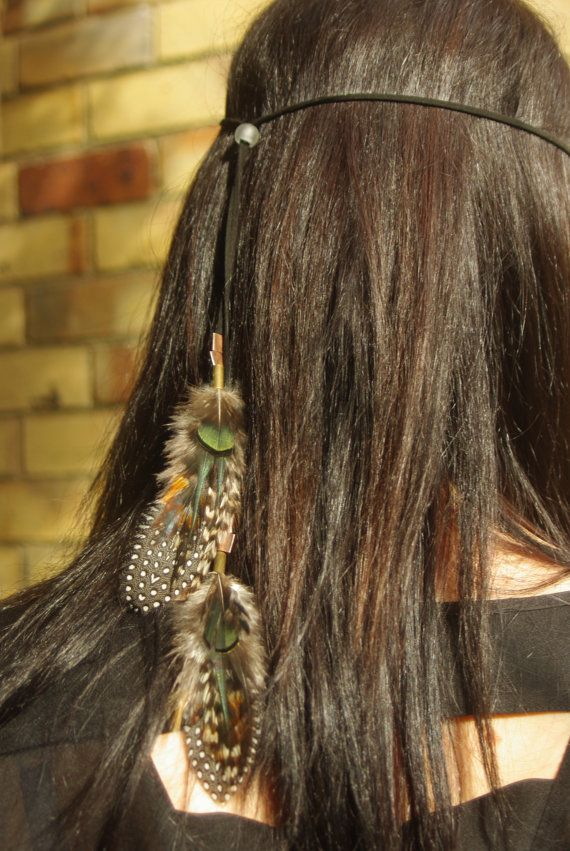 Unique Tribal warrior feather head band hair extension by Mana528