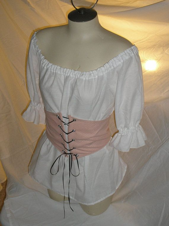 Womens Chemise Costume Shirt & Waist Cincher    This Chemise style shirt comes with 3/4 length sleeves, elastic neckline and sleeves. Drawstring