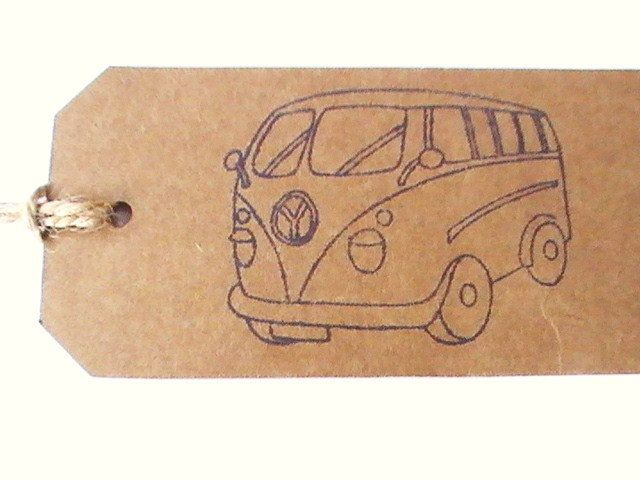 Campervan Gift Tags, Set of 5 Kraft Tags, Natural Gift Labels, Gift Tags For Him, Groomsmen Gift Tag Set, Rustic Tags, Hand Printed Tags by ButterandBath on Etsy