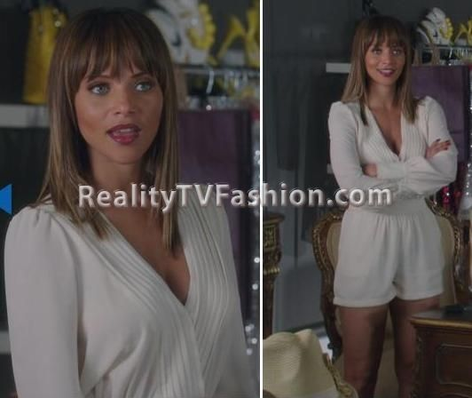 "Raquel's White Pleat Romper on ""Single Ladies"""