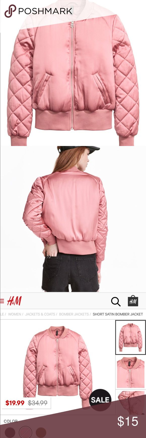 H&M Pink Satin Bomber Jacket Size 8 unif for exposure UNIF Jackets & Coats