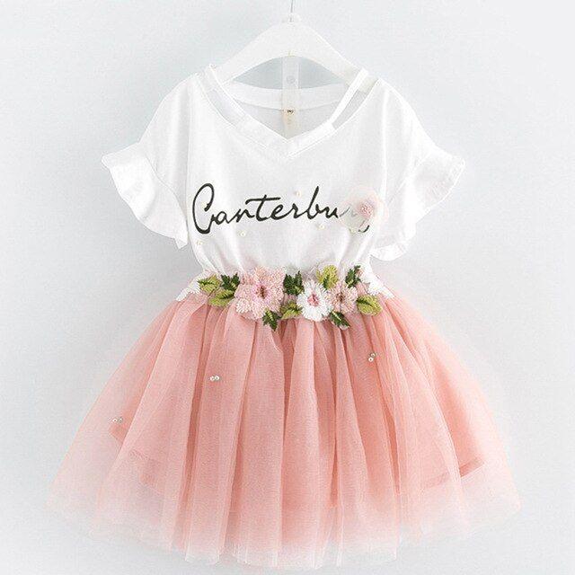 Kids Toddler Baby Girl Rainbow Bowknot Short Sleeve Princess Party Dresses Summer
