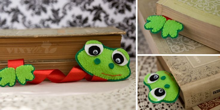 Felt Frog bookmark - so cute - should be simple enough to make with kidsBookmarks Handmade Kids, Kids Handmade Bookmarks, Book Markers, Kids Birthday Parties, Frogs Bookmarks, Birthday Parties Favors, Ribbons Bookmarks, Cute Kids Bookmarks, Easy Crafts Kids Bookmarks