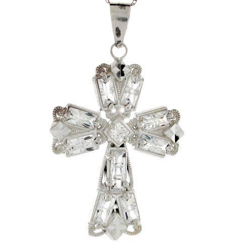 Sterling Silver White CZ 4cm Fashionable Sparkling Designer Cross Pendant Jewelry Liquidation. $32.26. Made in USA!. Made with Real Sterling Silver!