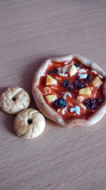 Ma Pizza et mes bagels en fimo(fait main)